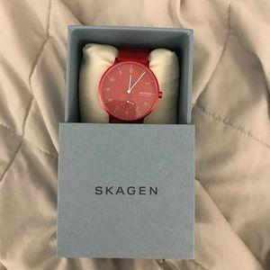 Skagen Denmark Red Monochromatic Watch